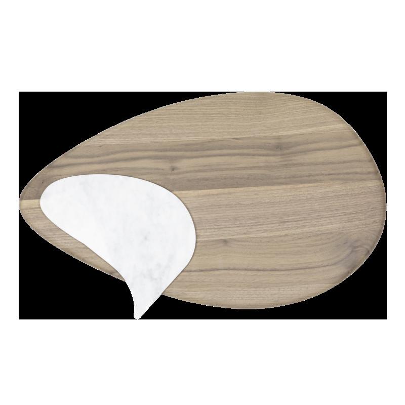 Tagliere per cucina in legno massello con marmetta in Bianco Carrara asportabile.