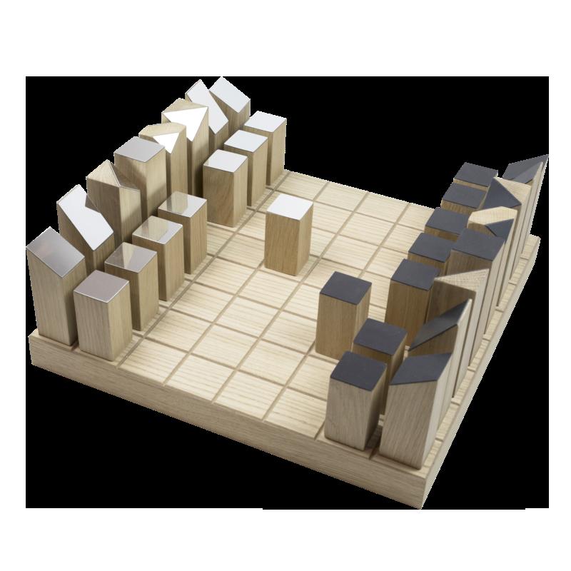 gioco degli scacchi design in rovere e lamina di specchio