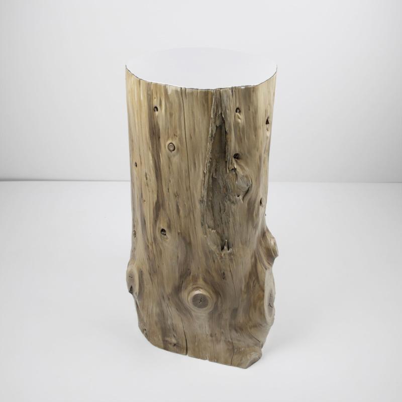 Tavolino tronco TORN_S con piano in lamina di specchio