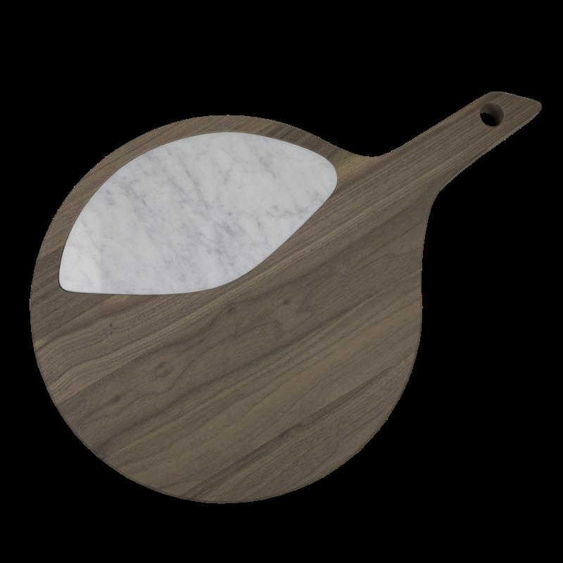 Tagliere  in legno massello di noce canaletto oliato con inserto in  quarzo